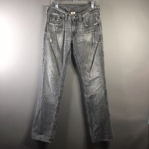 True Religion Ricky Black Distressed Straight Jean